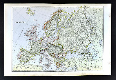 1883 Blackie Map - Europe - Spain France Italy Germany Russia England Austria