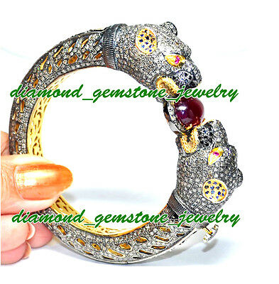 Panther-24.70 ROSE ANTIQUE CUT DIAMOND REAL GEMSTONE VICTORIAN LOOK BRACELET-1Pc