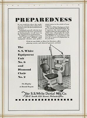 SS White Dental Supply Co. Philadelphia Authentic 1931 Full-Page Pictorial Ad