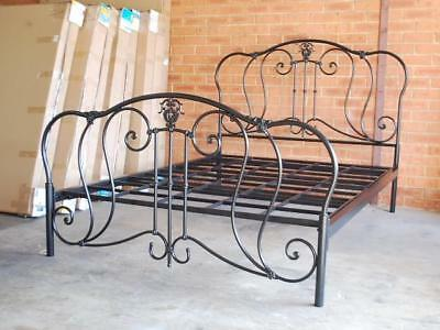 Hand Made French Style Elegant Arch Iron Bed Frame Castings Queen Size BLK002