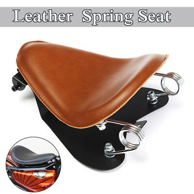 Brown Leather Solo Bracket Seat Base Spring For Harley Sportster Bobber Chopper