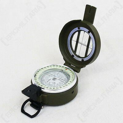 British Lensatic Metal Compass - Green Navigation Hiking Luminescent Survival