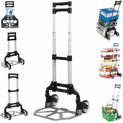 New Aluminium Luggage Cart Folding Dolly Push Truck Hand Collapsible Trolley