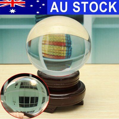AU 100MM Clear Round Glass Crystal Healing Ball Sphere Quartz Stand Home Decor