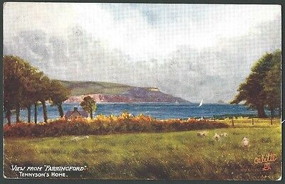 Isle Of Wight View From Farringford Vintage Tuck Oilette Artist Drawn Postcard