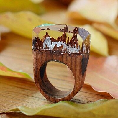 Handmade Wood Resin Ring with Magnificent Tiny Secret Landscape MINI WORD RING