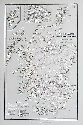 1881 Scotland Map To Illustrate the Criminal Condition of the People