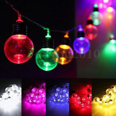 10M 20 LED Globe Patio Outdoor Fairy String Light Clear Bulb Chirstmas Wedding