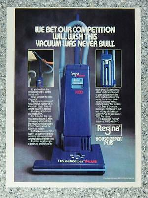 1987 Regina Vacuum Cleaners Vintage Magazine Ad HouseKeeper Plus Upright Vacuums