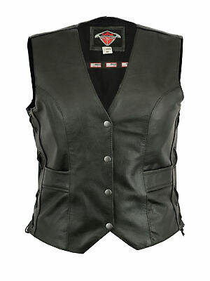 Womens Texpeed Leather Motorcycle Waistcoat / Cut With Laced Sides & Pockets