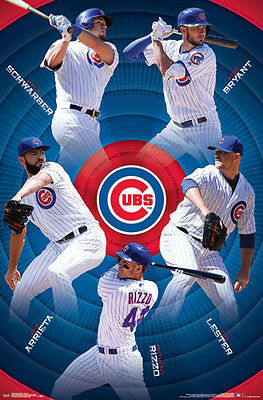 CHICAGO CUBS 5-STARS POSTER - Kris Bryant, Arrieta, Rizzo, Schwarber, Lester