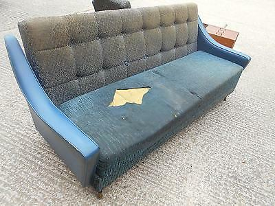 Large 1950s 1960s Mid-Century Modern Sofa Bed Settee
