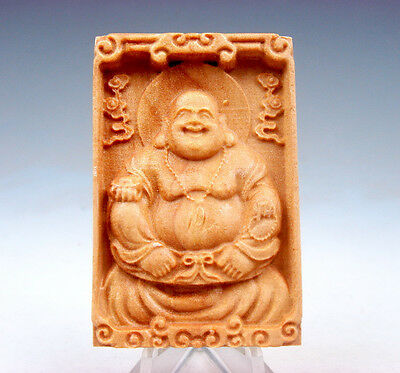 Wooden Detailed Carved Pendant Sculpture Big Belly Laughing Buddha #081217