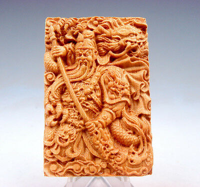 Wooden Detailed Carved Pendant Sculpture Warrior Guan-Yu & Dragon #081217