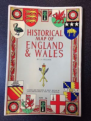 "Bartholomew Historical Map of England and Wales L. G. Bullock 39"" x 26"""
