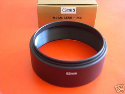 New! Metal 62mm Standard Screw-in Lens Hood