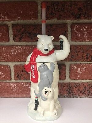 Coca-Cola Polar Bear Shaped Plastic Drinking Cup with Straw Collectible Novelty