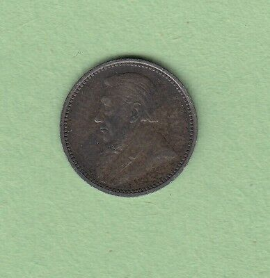 1896 South Africa Z.A.R 3 Pence Silver Coin - XF
