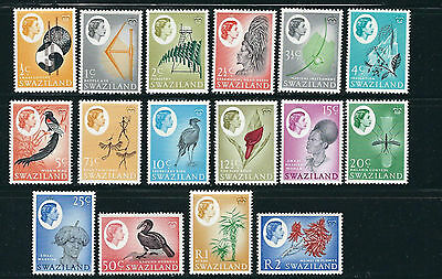 SWAZILAND 1962 QEII long set BIRDS PLANTS ARTIFACTS complete (Sc 92-107) VF MNH
