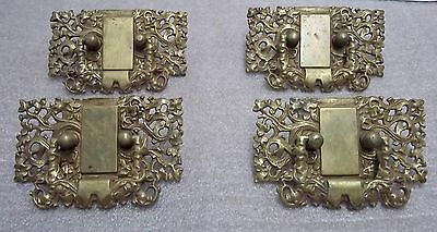 4 Antique Cast Brass Pulls, Rectangle, Furniture, Drawer, C.r.b. Co. 111