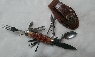 Vintage Yax Knife with Original Sheath, Spoon, Fork, Knife, Scissors, and more!