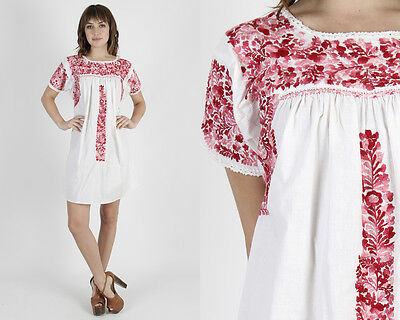 Vintage 70s Oaxacan Mexican Dress White Maroon Floral Embroidered Boho Mini M