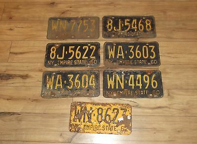 Estate Find Vintage New York  Empire State Lot of 7 License Plates 1957-62