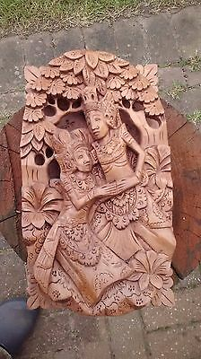 Oriental Treen / Wood Carving Thai / Chinese Wall Plaque