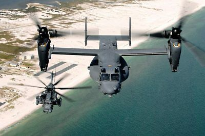 Bell Boeing V-22 and Sikorsky MH-53 Helicopter 8x12 Silver Halide Photo Print