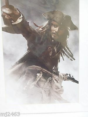 "Disney Pirates Of The Caribbean Jack Sparrow With Mat Unframed 8"" X 11 1/2"" New"