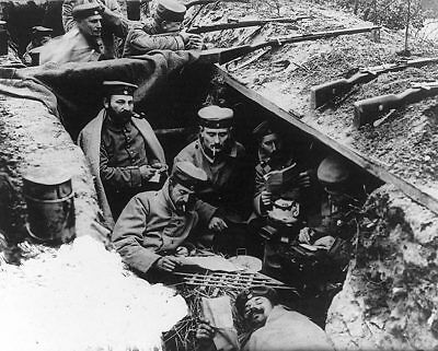 German WWI Soldiers in Trenches 11x14 Silver Halide Photo Print
