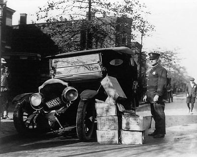 Policeman Wrecked Car and Cases of Moonshine 11x14 Silver Halide Photo Print