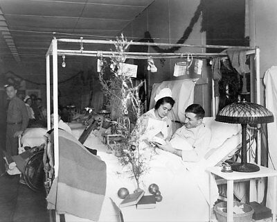 Red Cross Nurse & Soldier On Christmas WWI 8x10 Silver Halide Photo Print