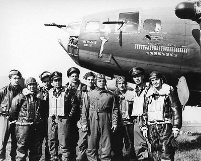 WWII B-17 Memphis Belle & Crew US Air Force 8x10 Silver Halide Photo Print