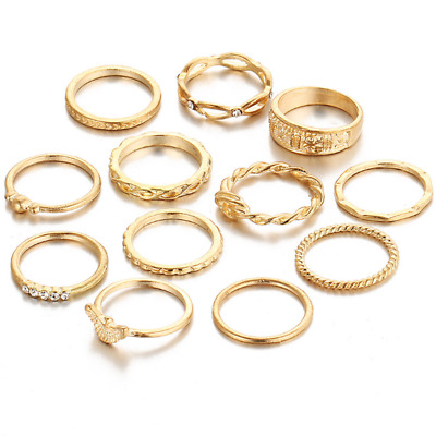 12Pcs/set Women Fashion Gold Plated Crystal Rhinestone Mid Knuckle Rings Jewelry