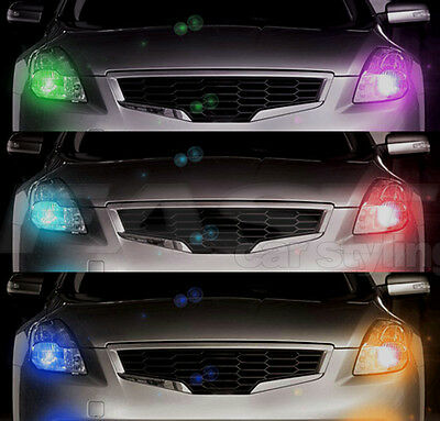 Strobe Kit 7 COLOURS + REMOTE LED bulbs FLASHER fits HEADLIGHTS H9