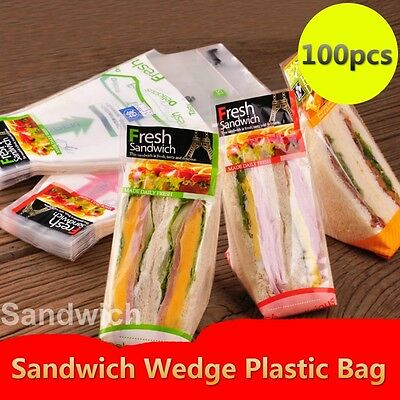 1 Pack (100pcs) Sandwich Wedge Plastic Bag Camping Hiking Food Storage Package