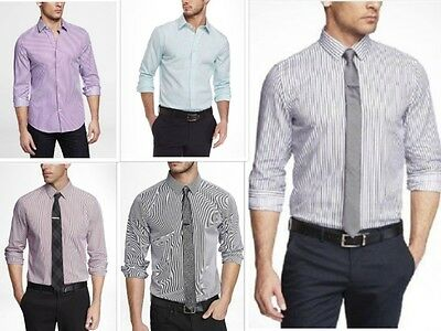 New EXPRESS Mens Extra Slim Fit Pinstriped Button Down Dress Shirt XS-XL Colors