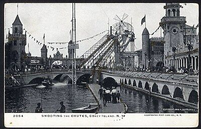 CONEY ISLAND Amusement Park Postcard 1904 Shooting Chutes New York