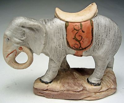 """Antique German Bisque Elephant Still Bank Hand Painted 5"""" Long Coin Slot 1930s"""