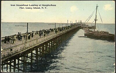 Steeplechase Pier CONEY ISLAND New York Postcard 1913 Iron Steamboat