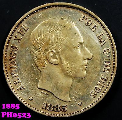 PHILIPPINES SPAIN 50 Centimos 1885 silver coin in nice condition