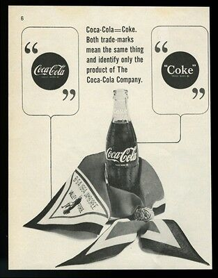 1964 Coca-Cola Coke bottle & Boy Scouts neckerchief photo vintage print ad