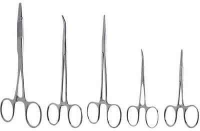 "5pc Hemostat Forcep Clamp Set Stainless Steel 3.5"" & 5"" Straight Curved"