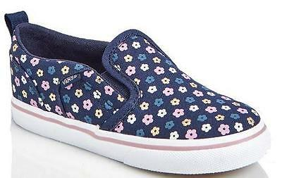 10d6c80687 Girl s Toddler VANS ASHER AC Navy Blue Flowers Slip On Canvas Loafers Shoes  NEW