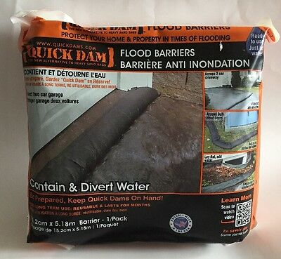 "QUICK DAM Flood Barriers Contain & Divert Water 15.2 cm x 5.18 m (6"" x 17') Pack"
