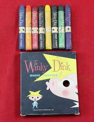 Vintage Winky Dink and You Magic Crayons 8 in Original Box 1950's TV Show Game