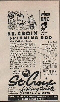 1954 Print Ad St Croix Spinning Fishing Rods Unity,WI