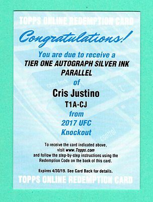 Cris Cyborg Justino 2017 Topps Ufc Knockout Tier One Silver Autograph Sp # / 10