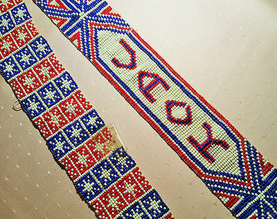 UNION JACK antique british flag sioux indian trade beads england vtg civil war